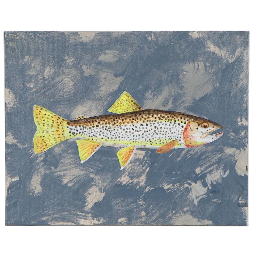 "George McElveen Acrylic Painting ""Coastal Cutthroat,"" 2020"