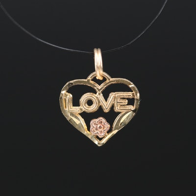 "10K ""LOVE"" Heart Charm"