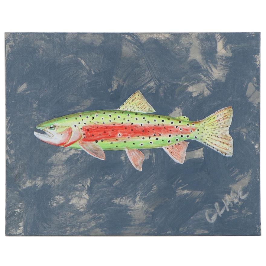 "George McElveen Acrylic Painting ""Lahontan Cutthroat,"" 2020"