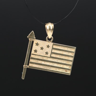 Krementz 14K Flag Pendant