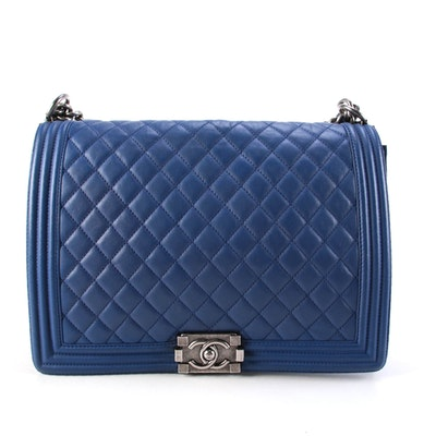 Modified Chanel Medium New Boy Flap Bag in Quilted Lambskin
