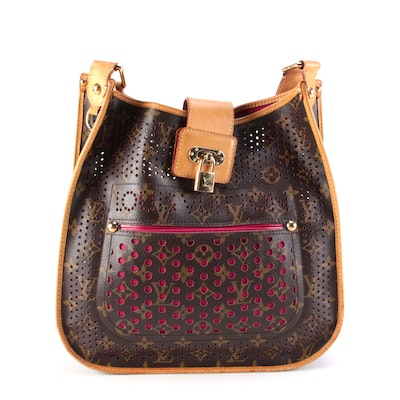 Louis Vuitton Musette Handbag in Perforated Monogram Canvas and Fuchsia Lining