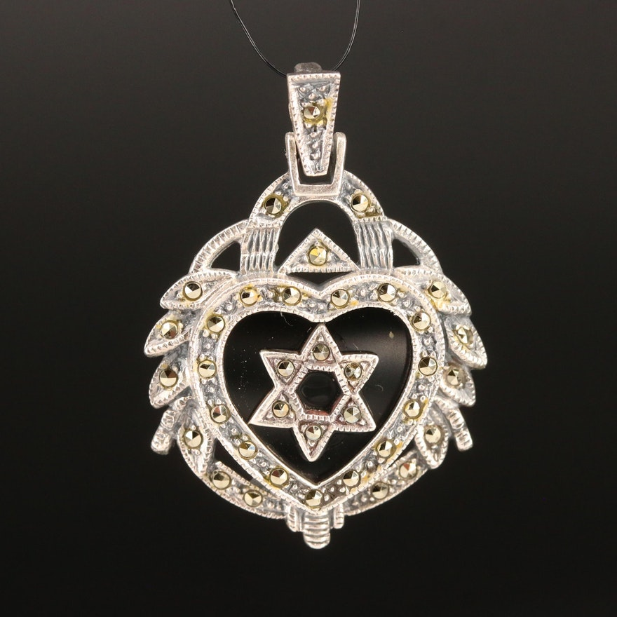 Sterling Black Onyx and Marcasite Star of David Heart Pendant