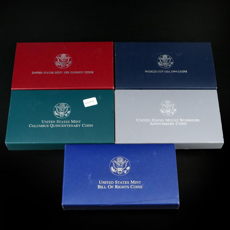 Five 2-Coin Commemorative Sets Including Silver Dollars