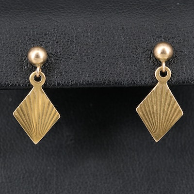14K Fan Style Dangle Earrings
