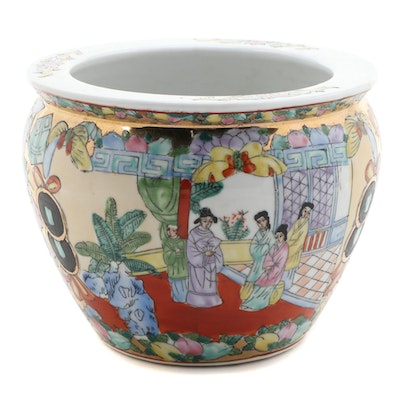 Chinese Qianlong Style Famille Rose Porcelain Planter, Late 20th Century