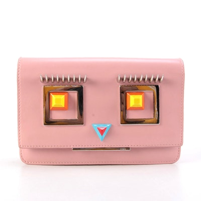 Fendi Hypnoteyes Wallet-on-Chain Clutch Bag in Pink Leather with Box