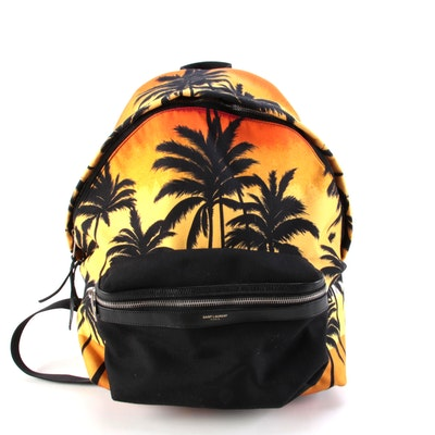 Yves Saint Laurent City Backpack in Tropical Print Canvas with Leather Trim