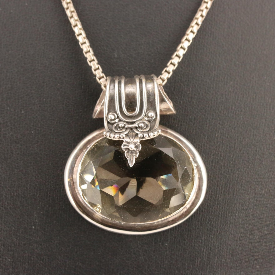 Sterling Glass Pendant Necklace