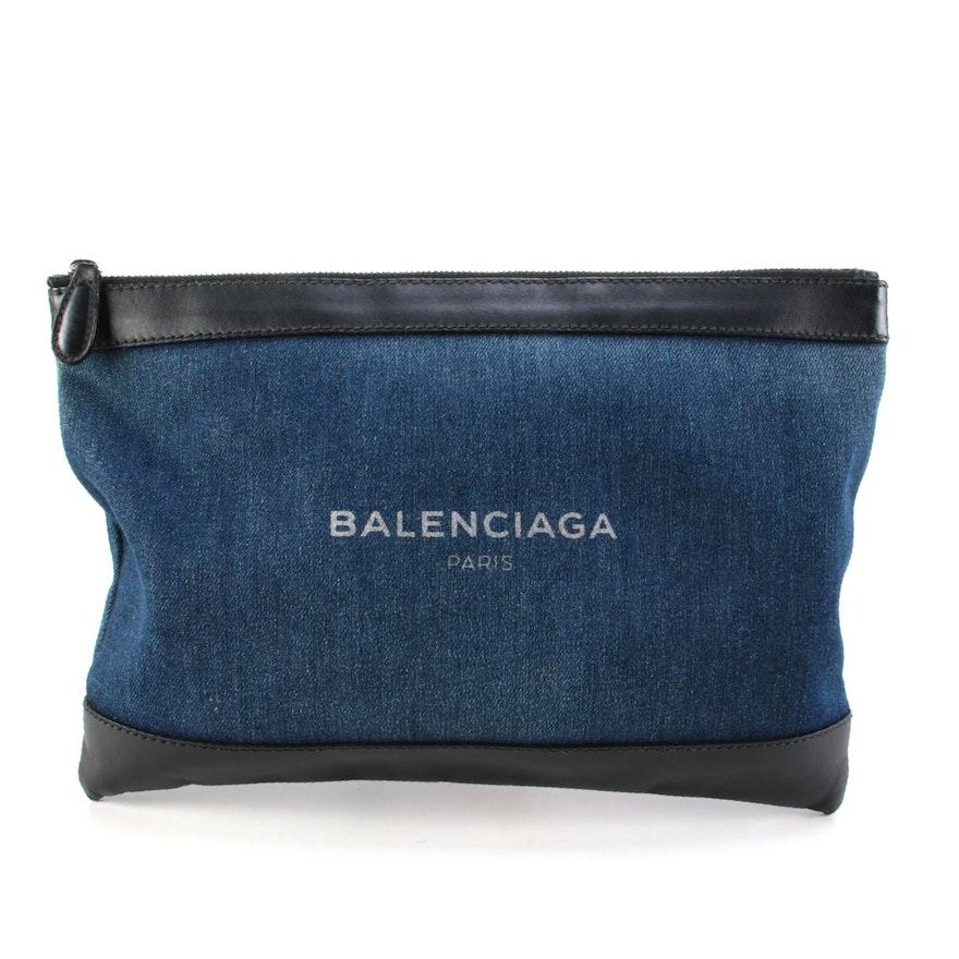 Balenciaga Clip M Pouch in Navy Blue Denim with Black Leather Trim