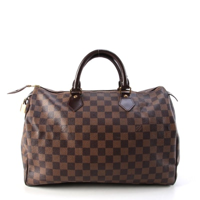 Louis Vuitton Speedy 35 in Damier Ebene Canvas and Brown Leather Trim