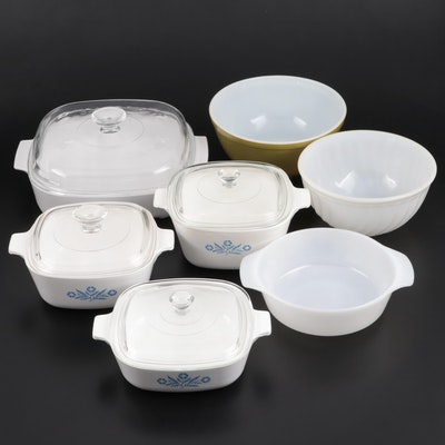 "Corning Ware ""Blue Cornflower"" Casseroles with Pyrex and Anchor Hocking Bowls"