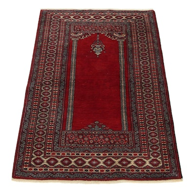 2'9 x 4'3 Hand-Knotted Pakistani Turkish Prayer Rug, 1990s