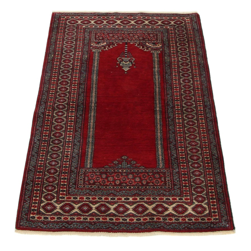 2'9 x 4'3 Hand-Knotted Pakistani Turkish Prayer Rug, 1990s