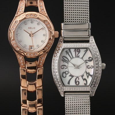 Pair of Mother of Pearl Dial and Cubic Zirconia Accented Wristwatches