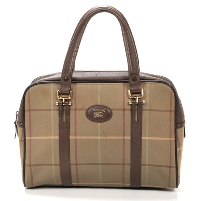 'Burberrys' Shoulder Bag in Plaid Canvas and Brown Leather