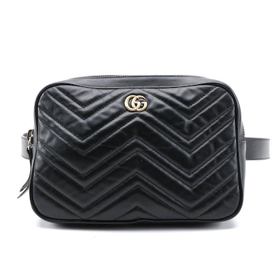 Gucci GG Marmont Belt Bag in  Black Matelassé Calfskin Leather