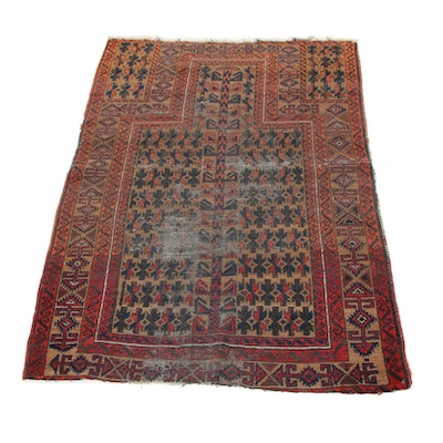 3'3 x 4'7 Hand-Knotted Persian Baluch Prayer Rug, 1920s