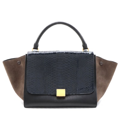 Céline Medium Tri-Color Leather Trapeze Bag with Navy Python Skin Leather