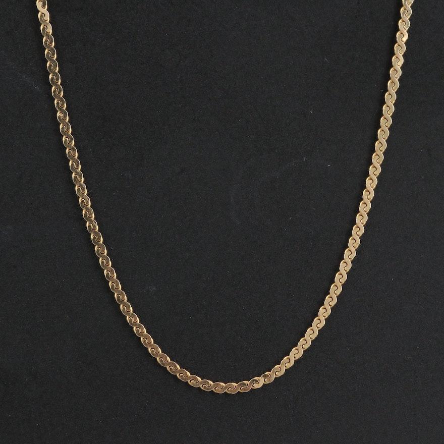 14K Serpentine Link Chain Necklace