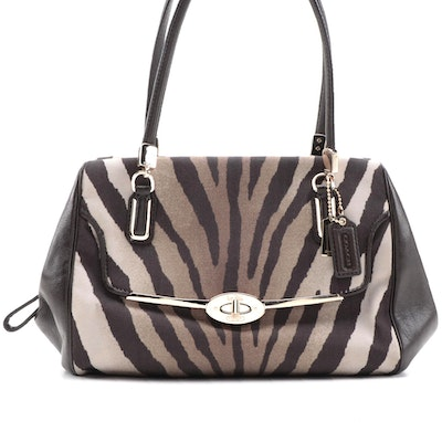 Coach Madison Zebra Print Two-Way Bag with Leather Trim