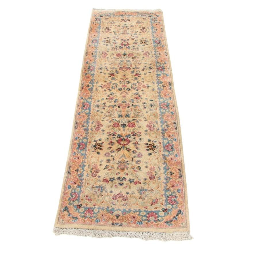 2'6 x 8'4 Hand-Knotted Persian Lavar Kerman Carpet Runner, 1960s