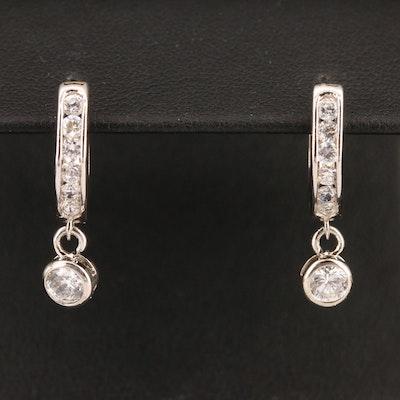 Cubic Zirconia Hoop Earrings with Drops