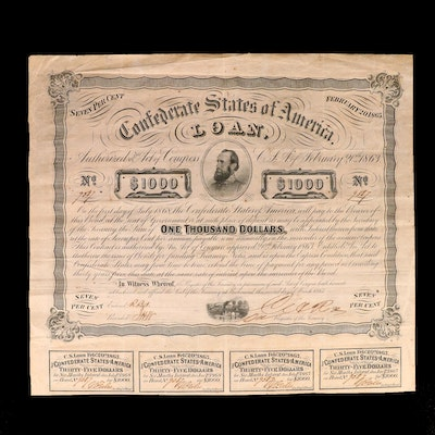 Confederate States of America $1,000 Loan, 1863