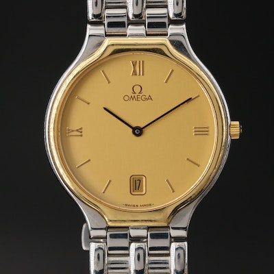 Omega DeVille 18K and Stainless Steel Quartz Wristwatch with Date