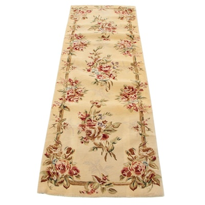 2'6 x 7'10 Hand-Tufted Sino-Persian Silk Blend Carpet Runner, 2000s