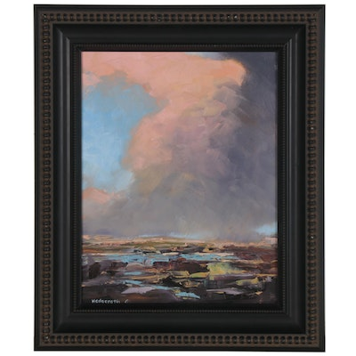 "Stephen Hedgepeth Landscape Oil Painting ""Storm Building,"" 2020"