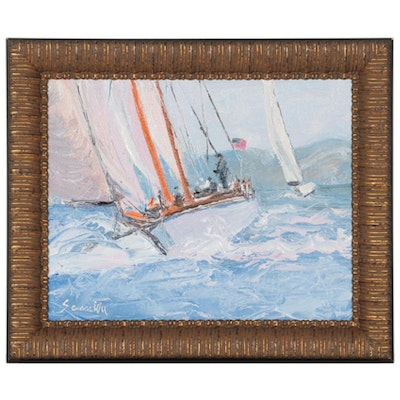 Sean Wu Oil Painting of Boating Scene, 2021