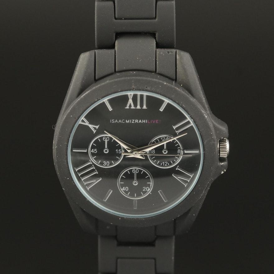 Isaac Mizrahi Live! Black Silicone Coated Quartz Wristwatch