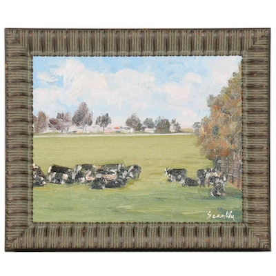 Sean Wu Oil Painting of Landscape with Cows, 2021