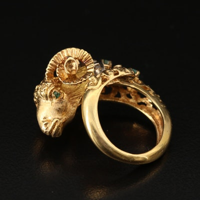 Greek 18K Emerald and Diamond Ram's Head Torc Ring