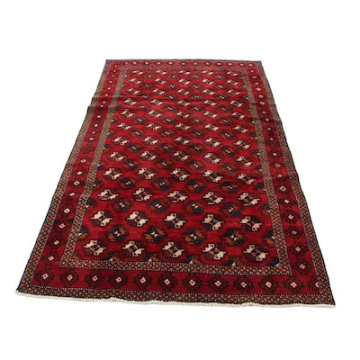 5'1 x 9'8 Hand-Knotted Persian Turkmen Area Rug, 1970s