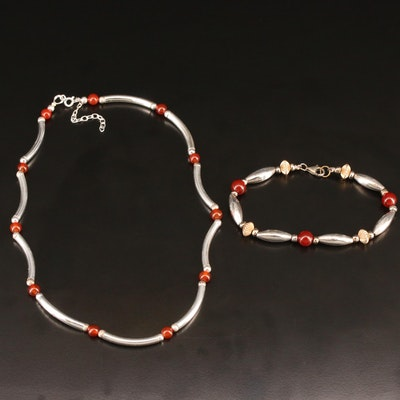 Sterling Silver Garnet Necklace and Bracelet