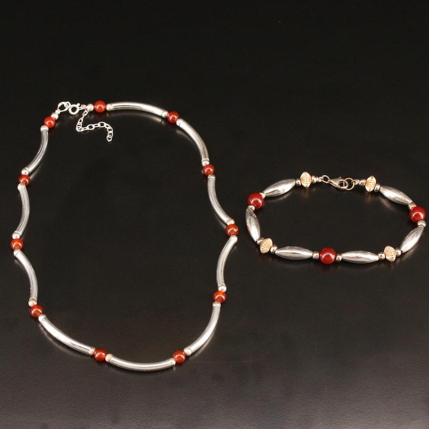 Sterling Silver Garnet Necklace and Bracelet