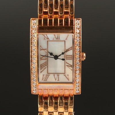 DMQ Golden Bronze Tank Style Wristwatch with Mother of Pearl Dial
