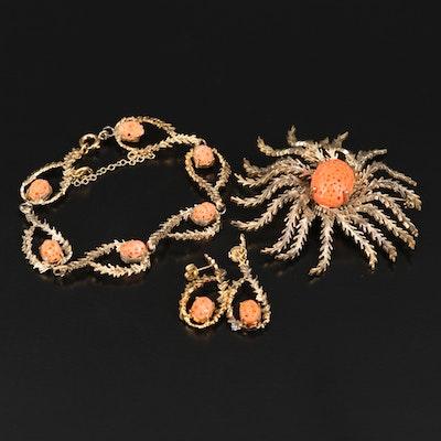 Vintage Wells Sterling Coral Brooch, Bracelet and Earring Set