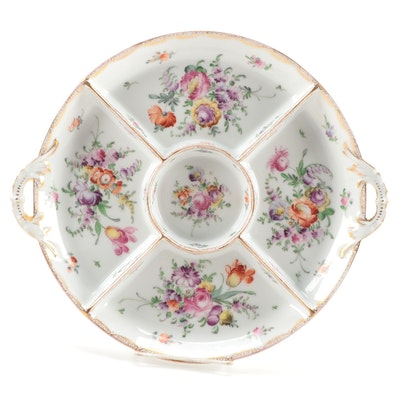 Tirschenreuth Floral Motif Porcelain Serving Platter, Early 20th Century