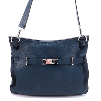 Hermés Jypsiere 35 in Bleu de Malte Clemence Leather
