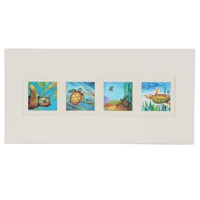 "Nancy Wilson Watercolor and Acrylic Painting ""Sea Turtle Series"""