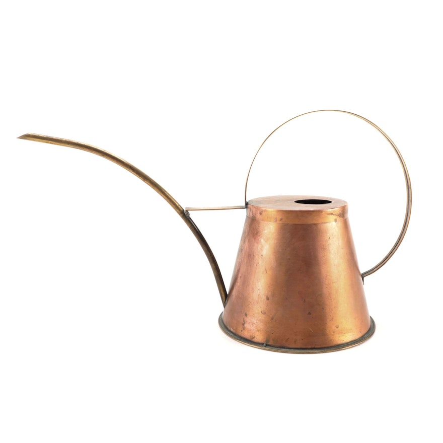 Copper and Brass-Handled  Watering Can