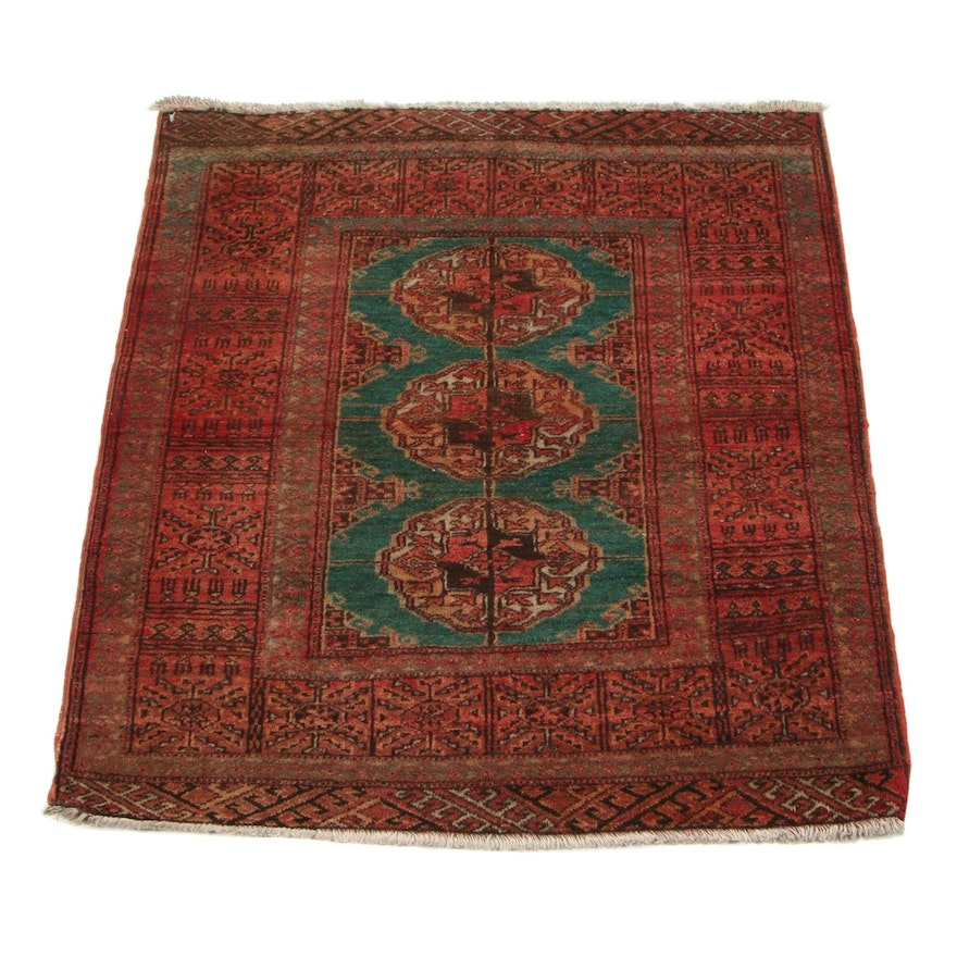 2'7 x 3'1 Hand-Knotted Persian Turkmen Accent Rug, 1960s
