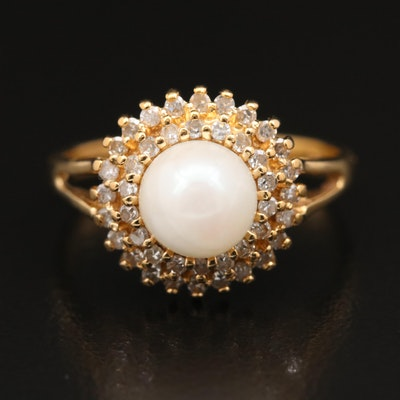 14K Pearl and Diamond Double Halo Ring