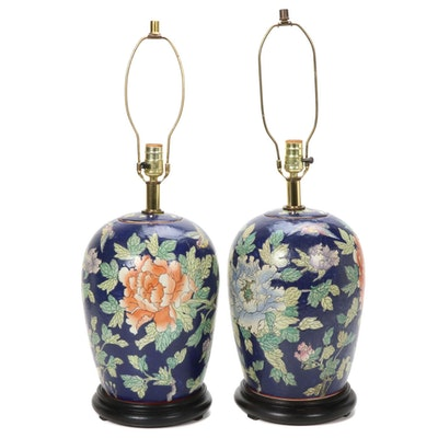 Pair of Ceramic Chinese Peony Blossom Motif Table Lamps