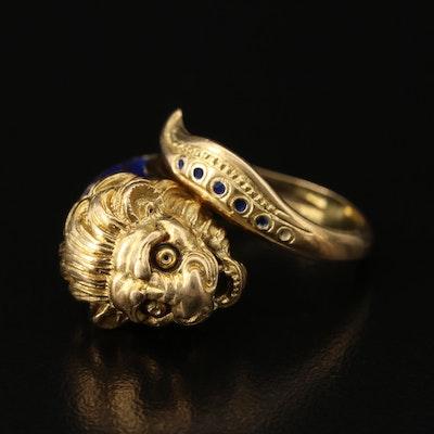 Greek 14K Cloisonné Enamel Lion Torc Ring
