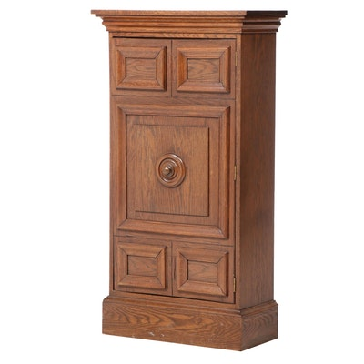 Oak Cabinet with Five-Paneled Door, Mid-20th Century