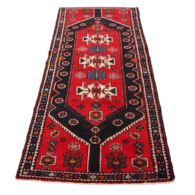 3'8 x 9'5 Hand-Knotted Persian Zanjan Long Rug, 1960s
